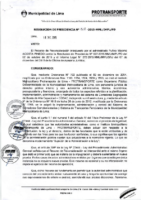 Resolución de Presidencia Ejecutiva N° 028-2015-MML/IPML/PE